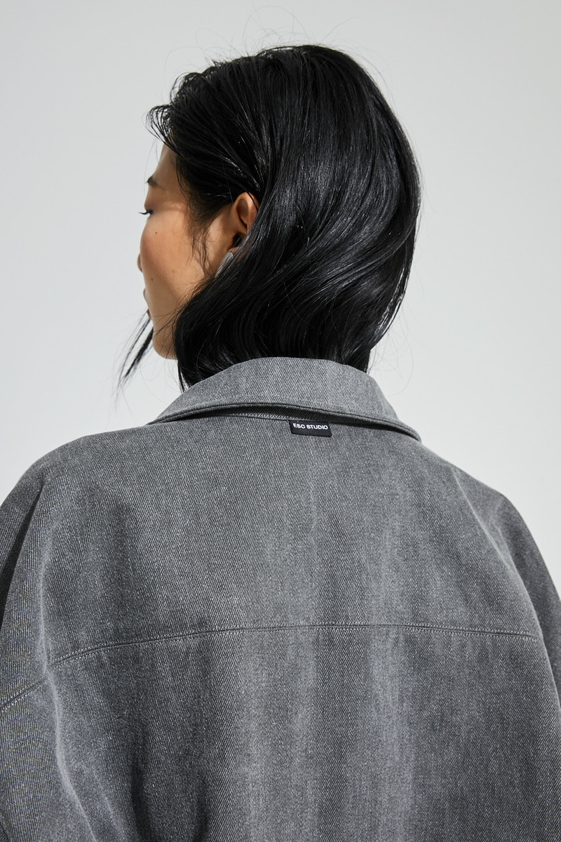 Denim pocket shirt (grey)