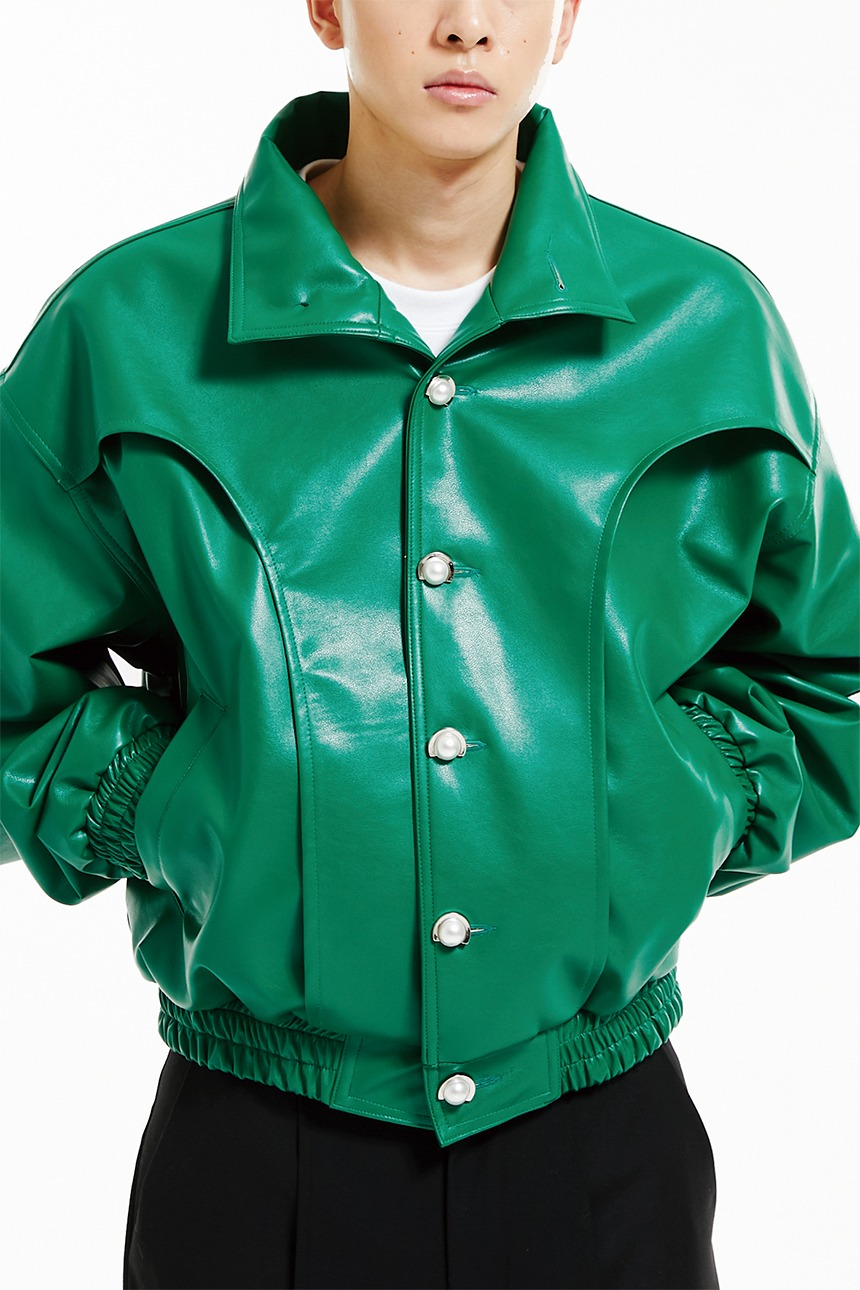 Leather crop bomber jacket (green)