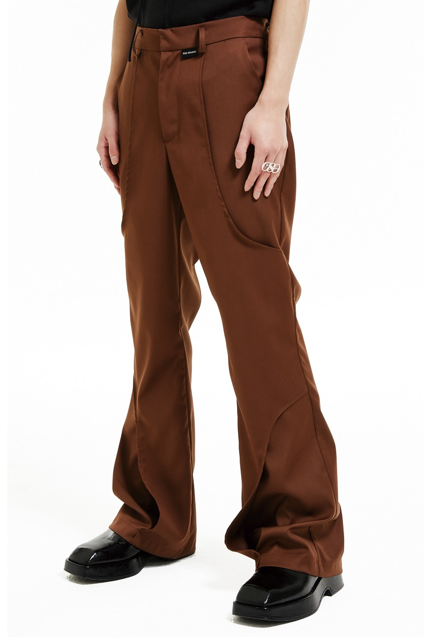 Line boots cut pants (brown)