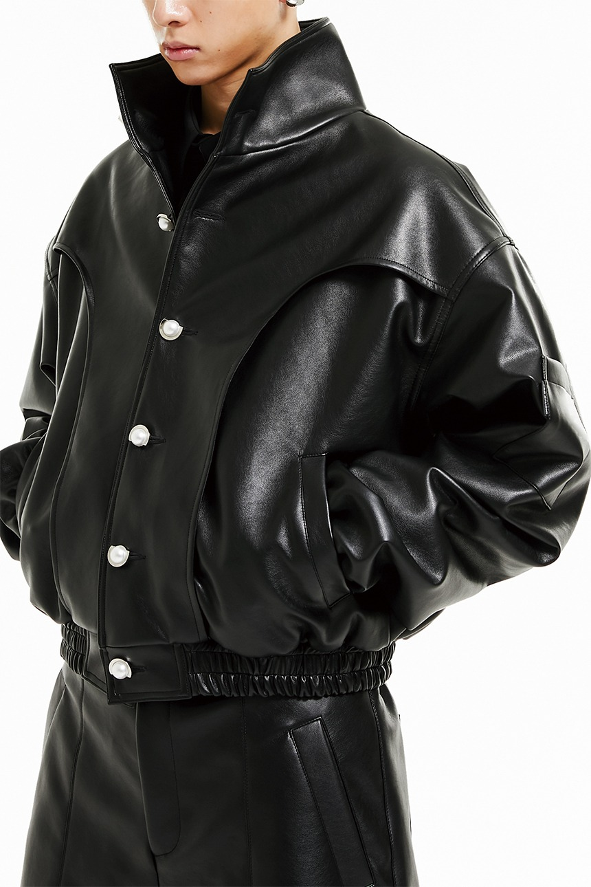 Leather crop bomber jacket (black)