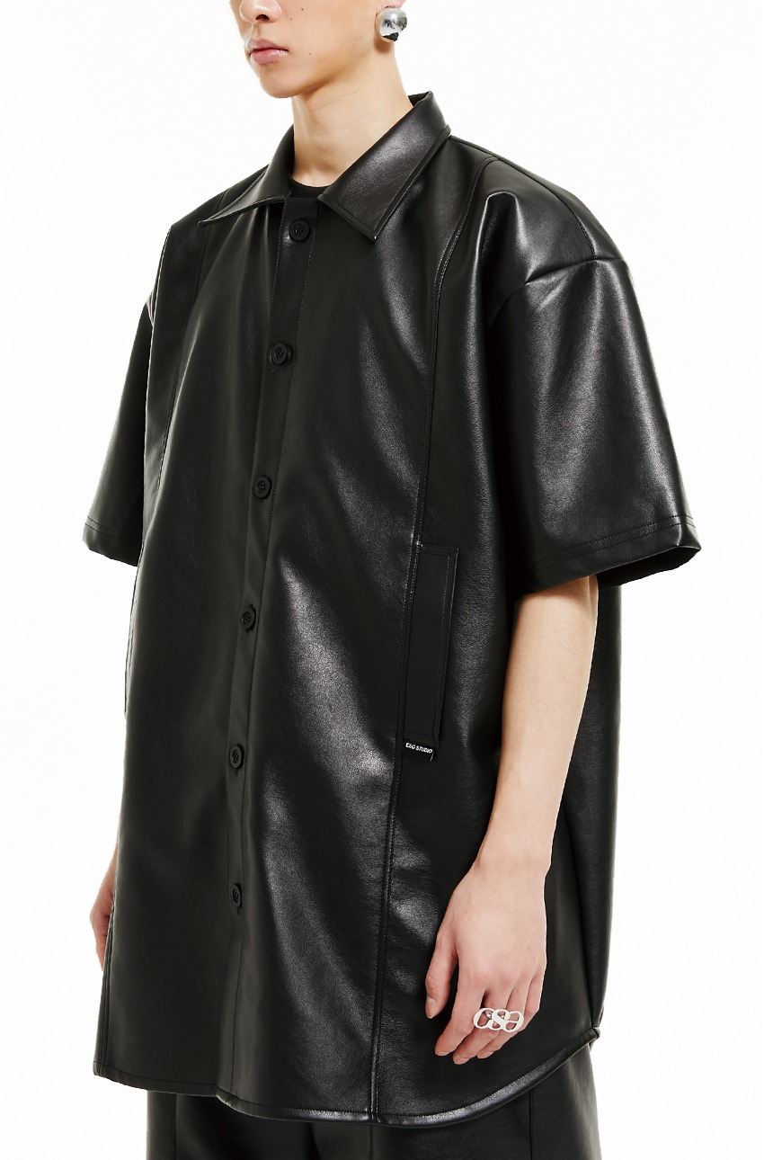 Leather pocket short-sleeved shirt (black)