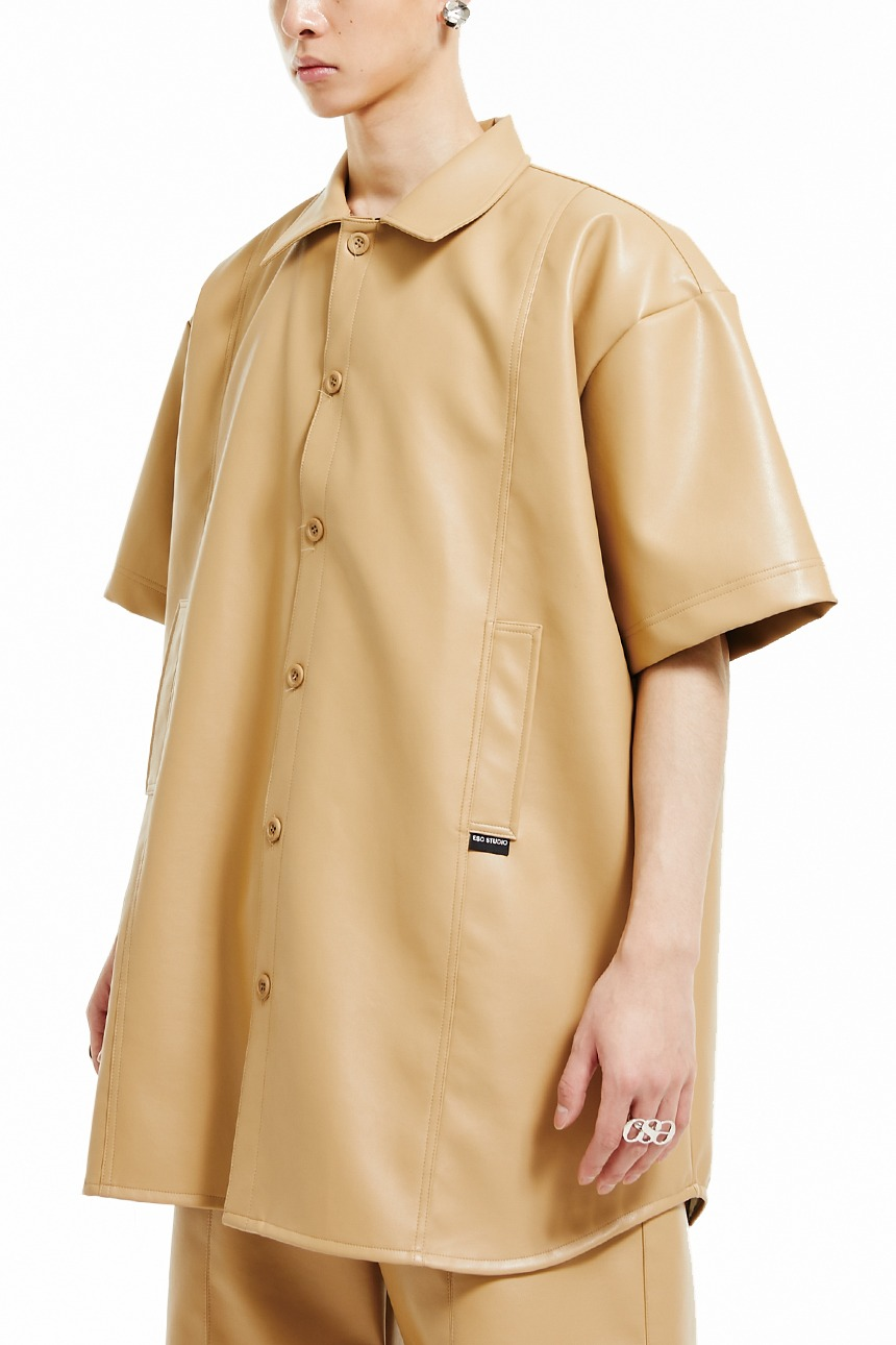 Leather pocket short-sleeved shirt (beige)