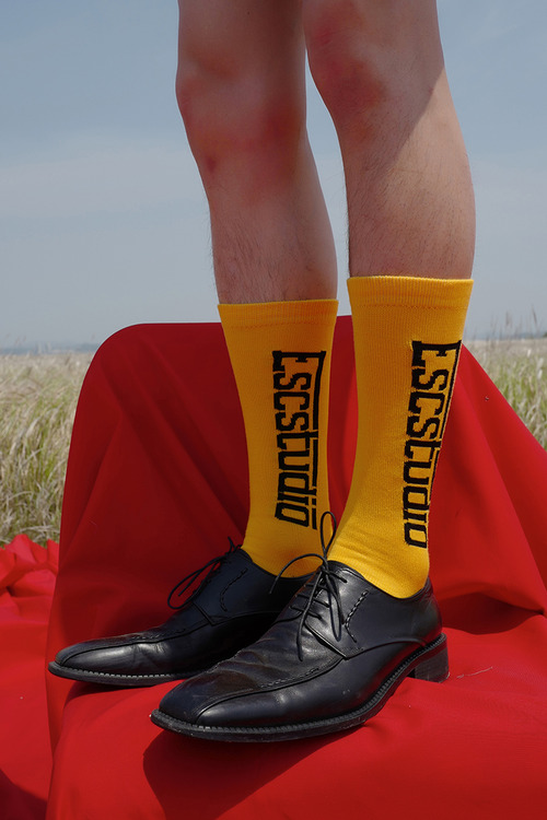 yellow logo socks