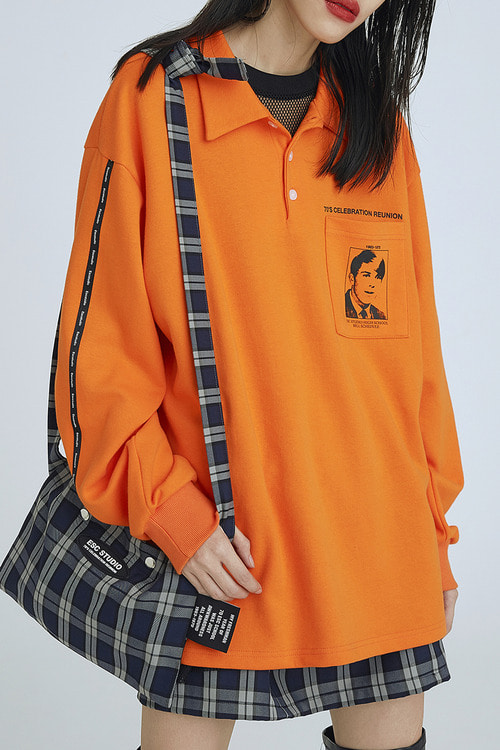 tape polo shirt(orange)