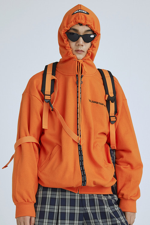 tape hood zipup(orange)
