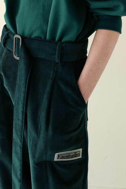 corduroy belt pants(green)