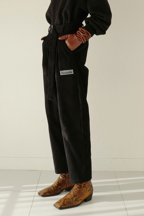 corduroy belt pants(black)