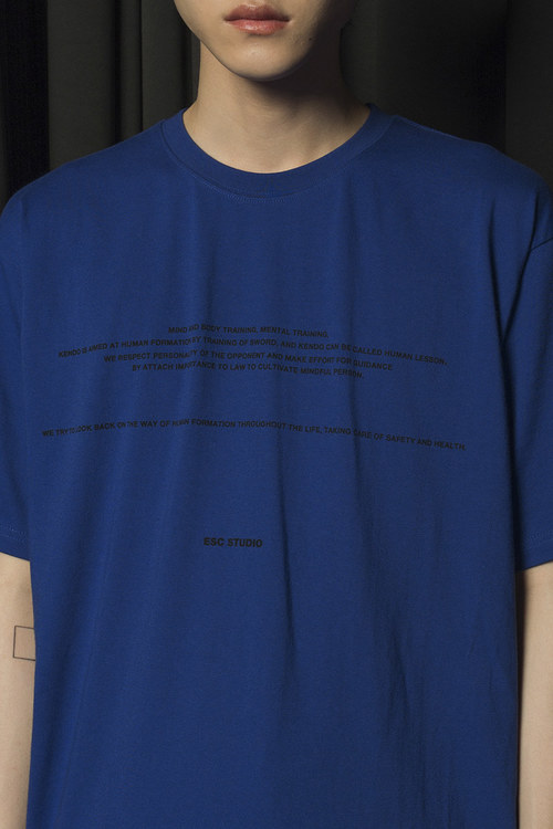 Back Zipper T-shirt (Blue)