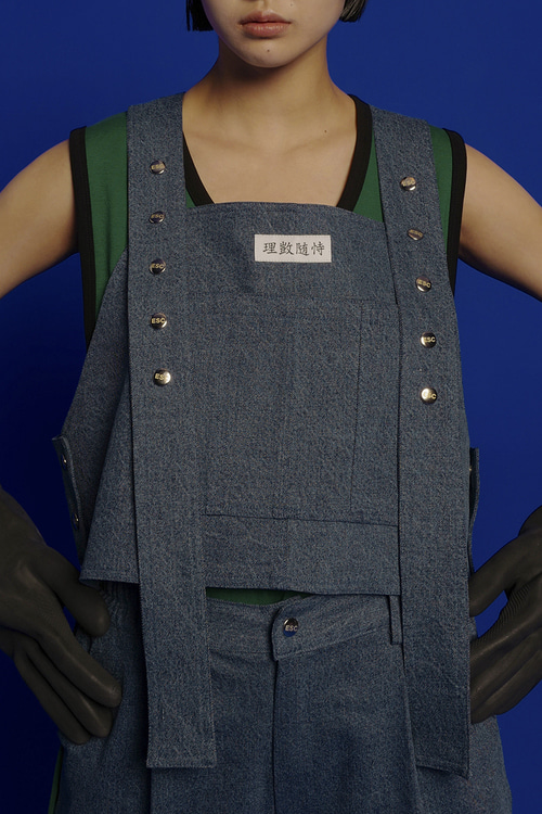 Button denim vest (blue)
