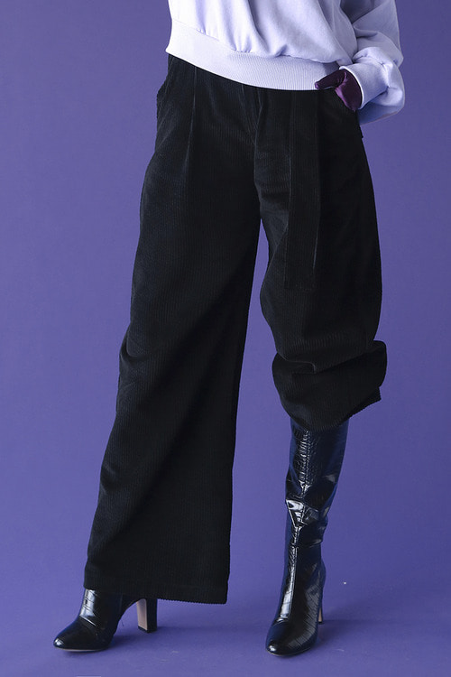 Corduroy wide pants (black)