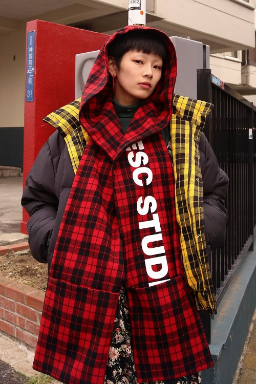 Hooded muffler (red)