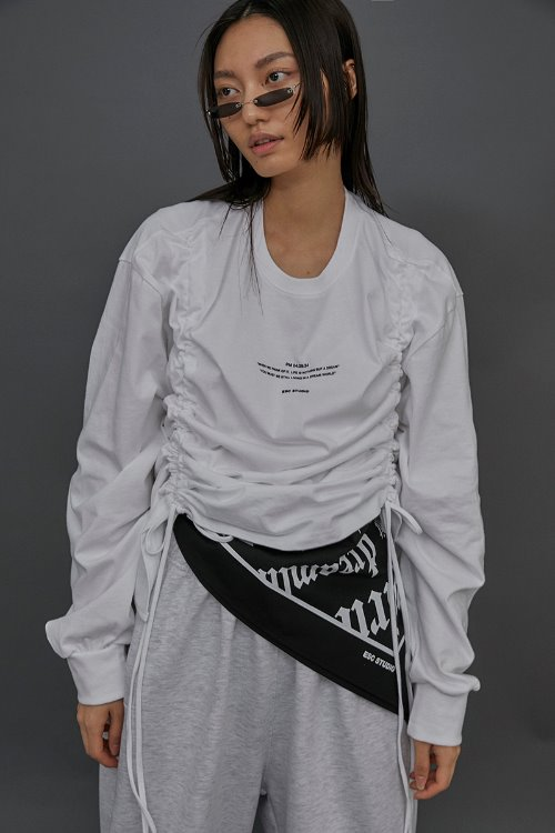 Shirring long sleeves (White)