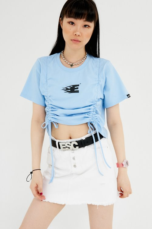 Shirring crop T-shirt (sky blue)
