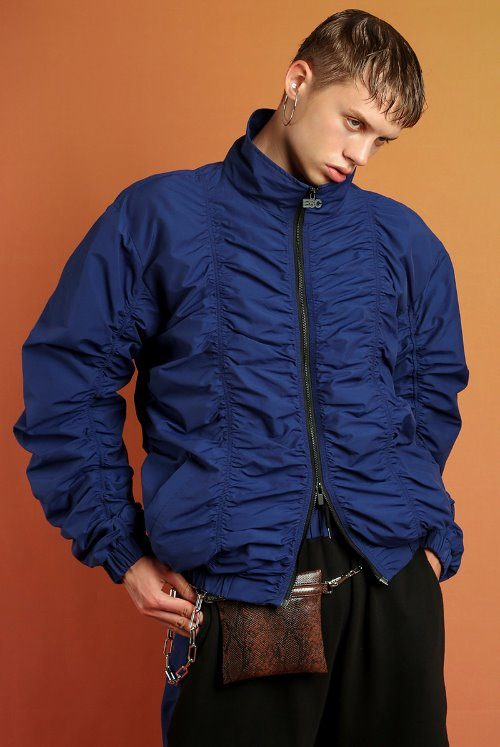 Shirring blouson (blue)