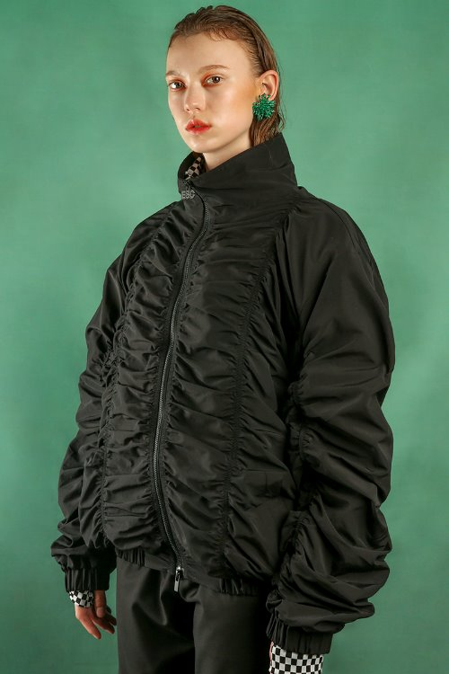 Shirring blouson (black)