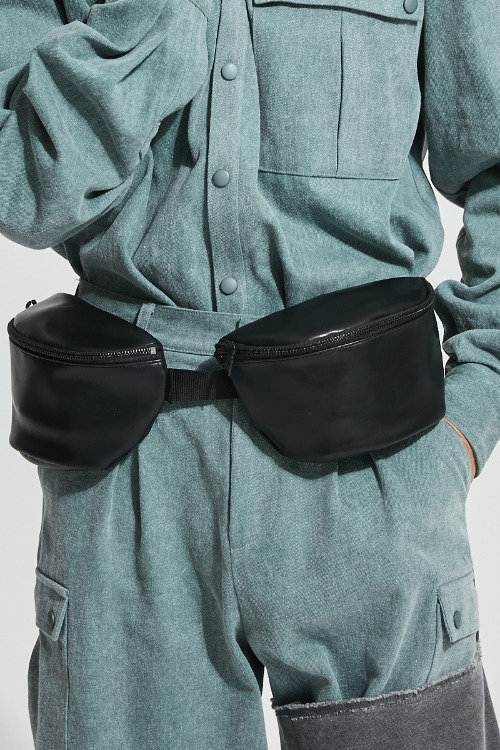 Leather twins waist bag