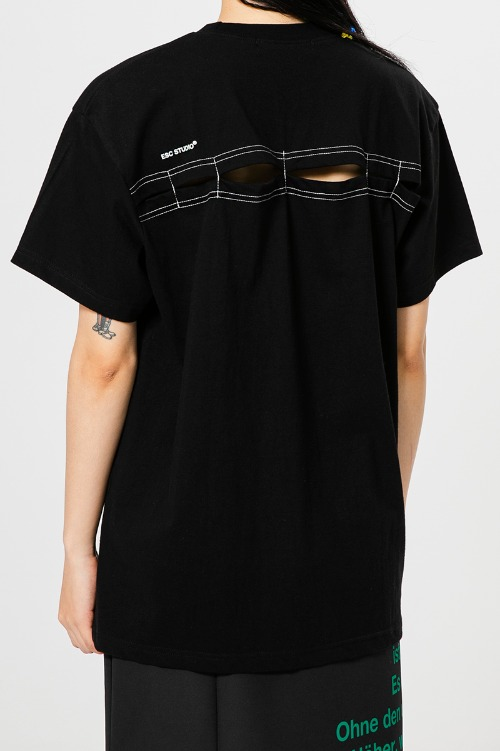 Back slit t-shirt(black)