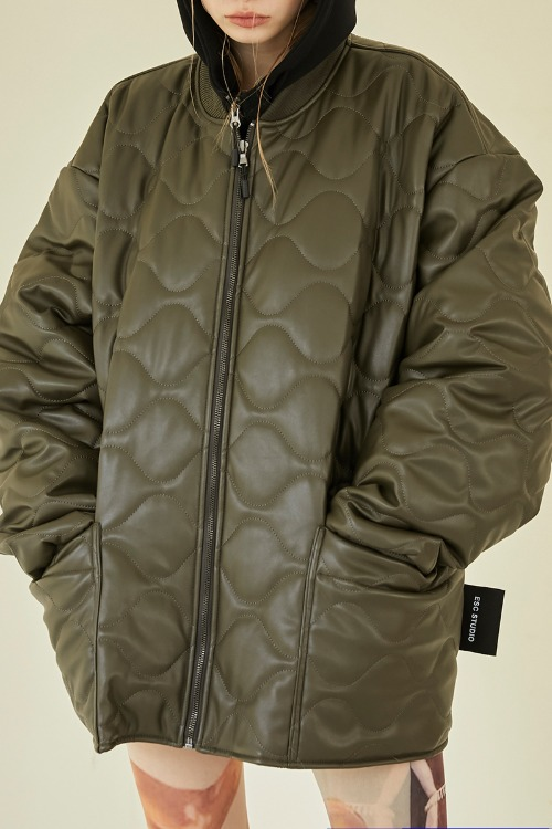 Leather quilted jumper (khaki)