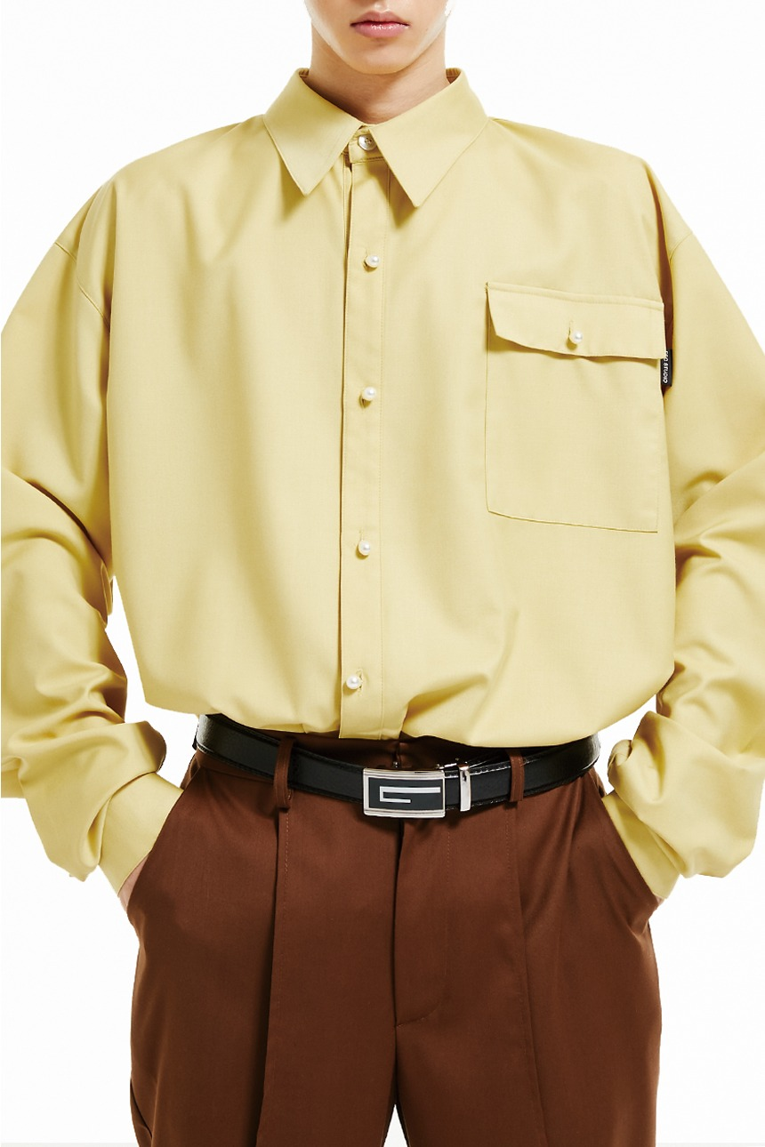 Pearl button shirt (yellow)